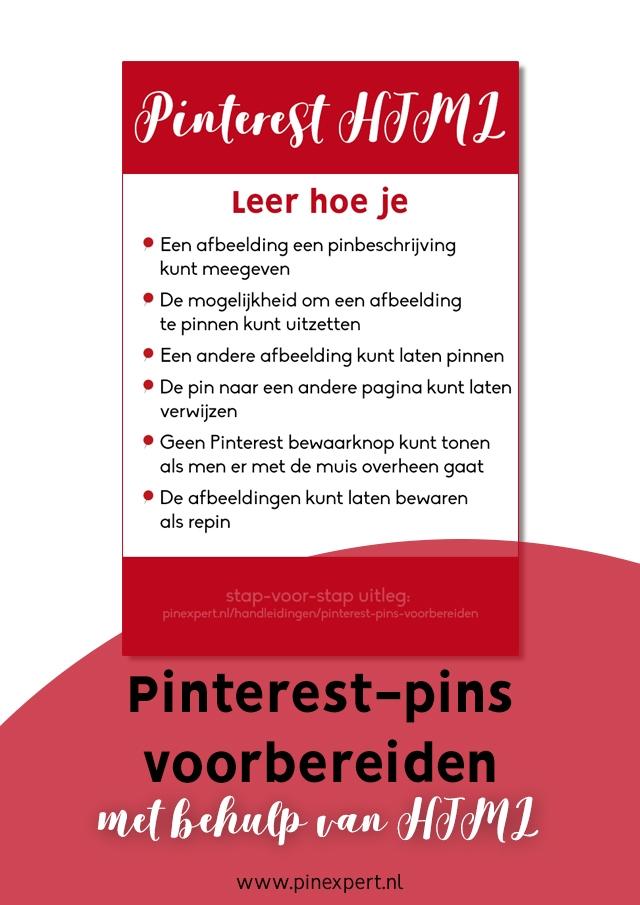 Pinterest pins voorbereiden HTML